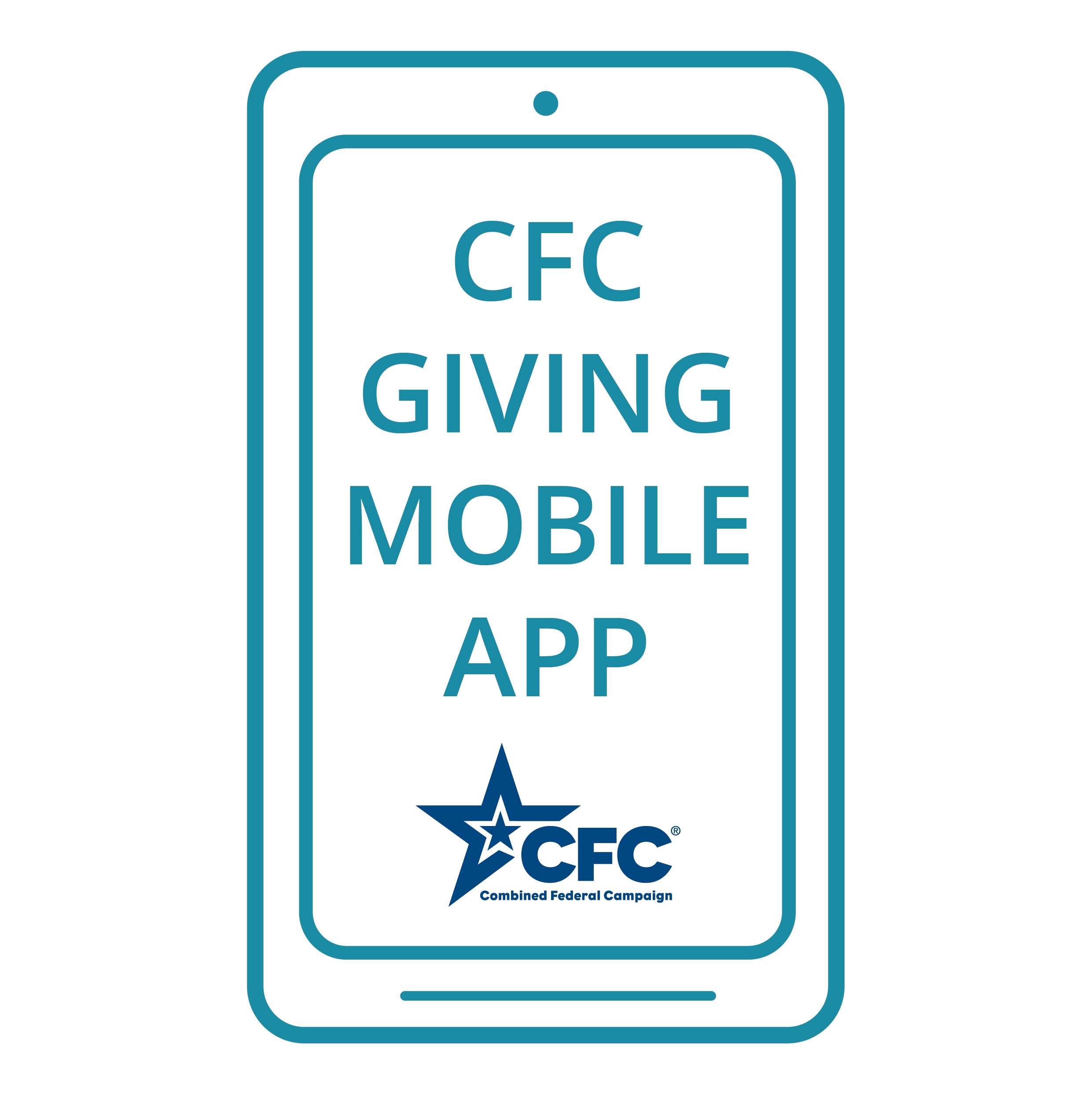 "graphic of a phone and ""CFC Giving Mobile App"" on the screen"